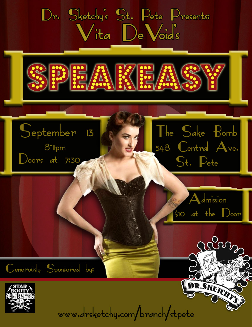 Dr. Sketchy's St. Pete Presents Vita DeVoid's Speakeasy flyer